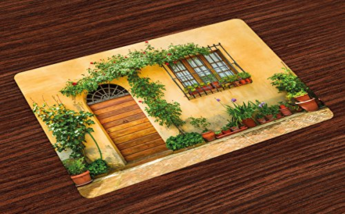 Ambesonne Italy Place Mats Set of 4, Porch with Different Flowers Pots Fresh Green Plants City Life in Tuscany, Washable Fabric Placemats for Dining Room Kitchen Table Decor, Apricot Green Brown