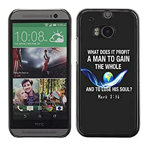 Paccase / Dura PC Caso Funda Carcasa de Protección para - BIBLE Mark 8:36 - HTC One M8