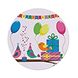 iPrint Polyester Round Tablecloth,Birthday Decorations for Kids,Singing Birds Happy Birthday Song Flags Cone Hats Party Cake,Multicolor,Dining Room Kitchen Picnic Table Cloth Cover,for Outdoor Indoor