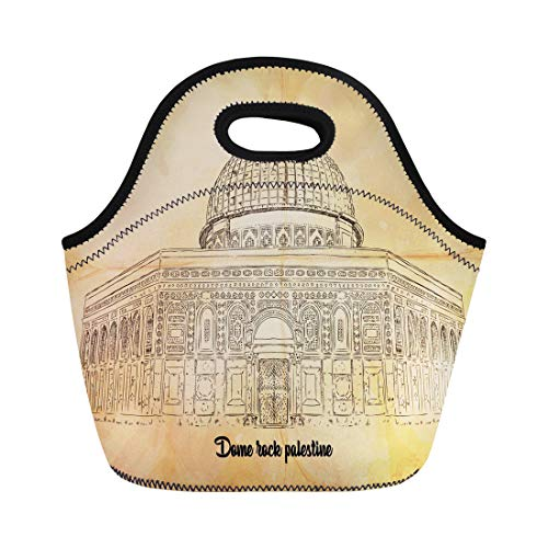 Semtomn Lunch Bags Architecture White Ancient Dome Rock Palestine Sketch Antique Artistic Neoprene Lunch Bag Lunchbox Tote Bag Portable Picnic Bag Cooler - Palestine Antique