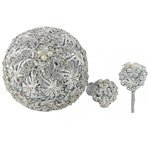 DOTKV Wedding Bouquets Silver Luxury Artifical Diamond Bouquets Set for Bride, Bridegroom,Including Bouquets Flowers, Wrist Flowers,Corsage for Your Wedding with Full Hand-Made