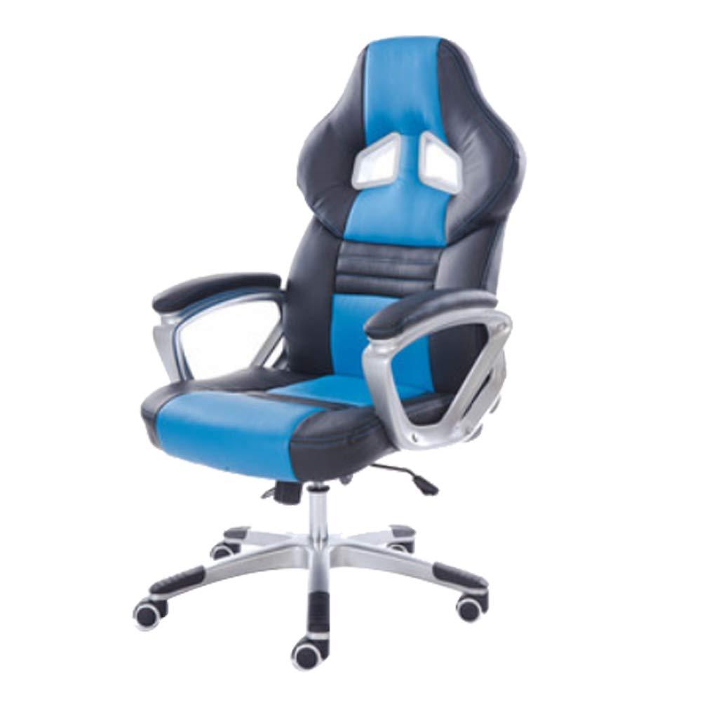 人間工学に基づいたレーシングスタイルのレザー回転コンピュータゲームチェア(Blue)  Blue B07GFDGSJ8