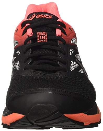 Asics Gel-cumulus 18 G-tx , Zapatillas de running Mujer Multicolor (Black / Silver / Flash Coral)