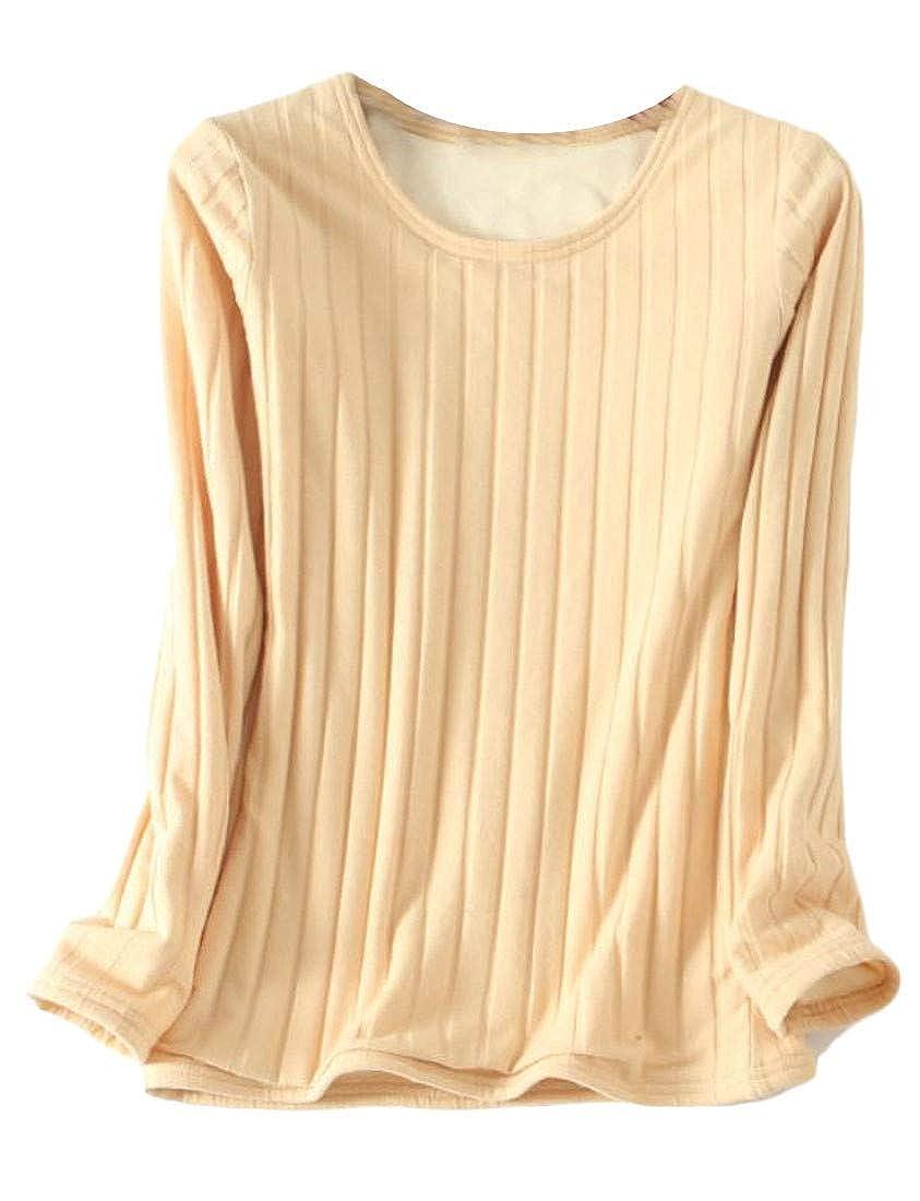 Conffetti Women Winter Thermal Crew Neck Long Sleeve Fleece Thicken T-Shirts