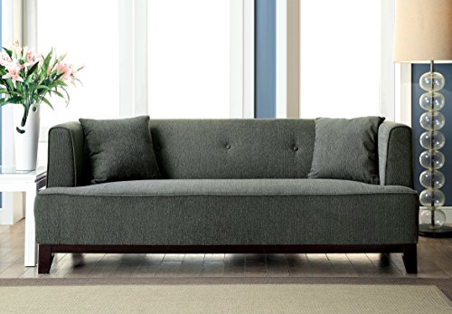 Furniture of America Elsa Neo-Retro Sofa, Gray - Neo-Retro sofa Sleek profile with angled block feet Includes matching accent pillows - sofas-couches, living-room-furniture, living-room - 51BpQAWyiSL -