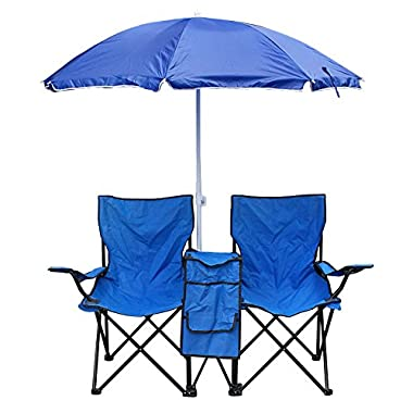 Zeny® Deluxe Double Folding Chair With Removable Umbrella Table Cooler w/ Drink Holder and Large Storage Pouch Bag Fold Up Steel Construction Dual Seat for Patio Beach Lawn Picnic Fishing Camping Garden and Carrying Bag
