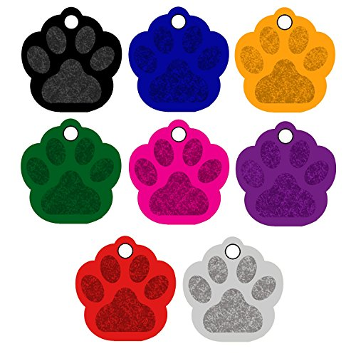 CNATTAGS Pet ID Tags Paw Shape, 8 Colors, Personalized Premium Aluminum (Black)