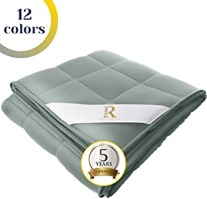 Royal Therapy Weighted Blanket Adult (15lb, 60x80', Queen Size Comfort) 100% Calming Cotton Blanket with Glass Beads