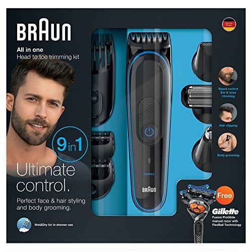 Braun 3080 Set de Afeitado Multifunción 9-en-1, Recortadora de Barba/Cabello/Cuerpo