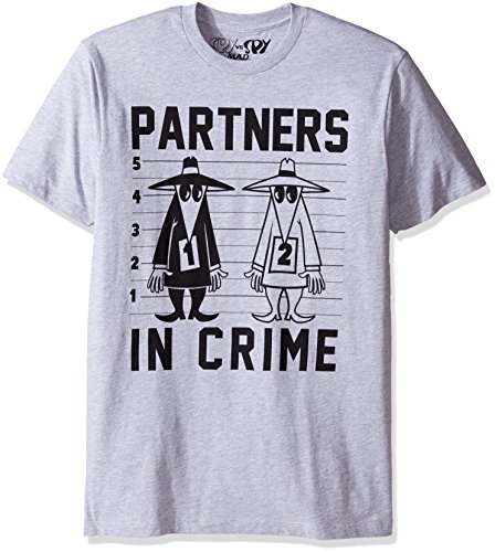 T-shirts Goodie Two Sleeves (Goodie Two Sleeves Men's Vs. Spy Partners in Crime Adult T-Shirt, Heather Gray X-Large)