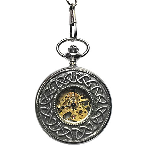 Men's Pewter Skeleton Mechanical Pocket Watch with Chain Made in Ireland by Mullingar (Trinity Circle) (Skeleton Pewter)