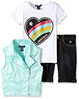 Limited Too Little Girls' Fashion Top, Vest and Short Set, KW66 Mint, 5