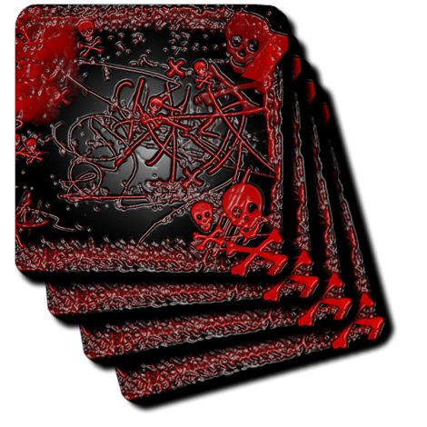 Cross Tile Coaster (3dRose cst_109448_3 Black Red Skull 'n Cross Bones in Rubber Finish-Ceramic Tile Coasters, Set of 4)