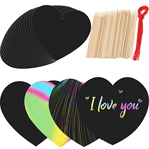 Boao Rainbow Scratch Paper Heart Scratch Craft Kit with Wooden Styluses and Red Ropes for Valentine's Day Party Favors -