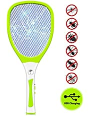 JOLVVN ElectricFlySwatter, Fly Bug Zapper Racket MosquitoKiller,3000 Volt USB Rechargeable Pest Control with LED Flash Light For Indoors and Outdoor