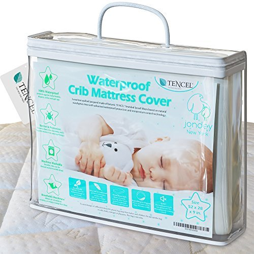 Organic Quilted Jacquard TENCEL Crib Mattress Protector Pad 100 Waterproof Breathable Hypoallergenic Fitted Washable 52x28x9inch Soft Padded for Baby Toddler Infant Bed Flannel Cover Topper.
