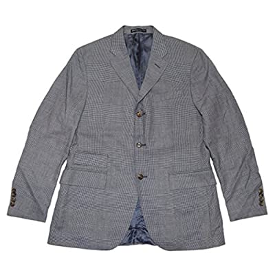 Top Polo Ralph Lauren Men Cashmere Blazer Sport Coat Navy Blue Glen Plaid Italy 40R for cheap