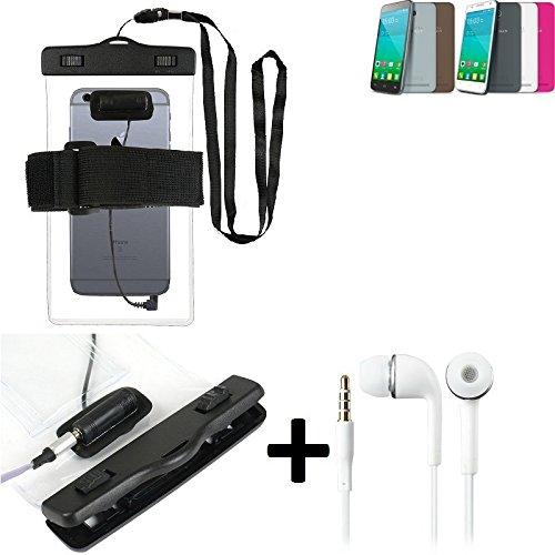 Estuche estanco al agua con entrada de auriculares para Alcatel One Touch Idol 2 Mini S + auricular incluido, transparente   Trotar bolsa de playa al aire libre caja brazalete del teléfono caso de cás