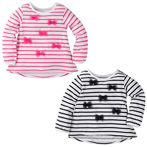 Price comparison product image Gerber Graduates Baby Girls' 2 Pack Stripe Tops with Tulle Bows, Black Stripe/Pink Stripe, 12 Months