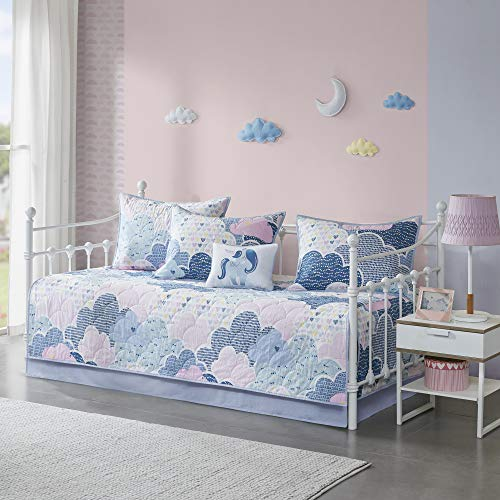Urban Habitat Kids Cloud 100% Cotton Printed Reversible 6 Piece Quilt Coverlet Bedspread Bedding Set, Daybed Size, Blue
