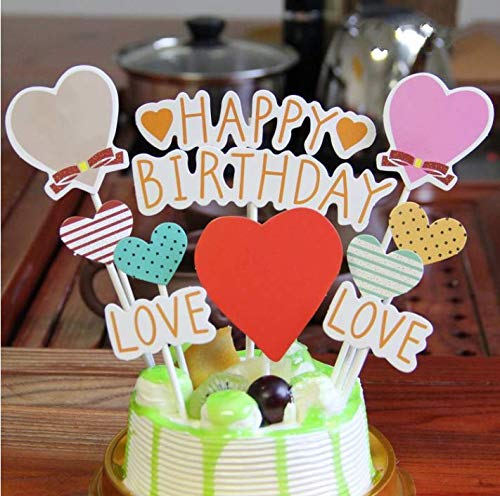 - PureArte Happy Birthday Cake Topper For Kids Party Favors Decoration Pink Hearts Love