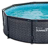 Summer Waves 12' x 33' Above Ground Pool Set w/Pump, Dark Wicker