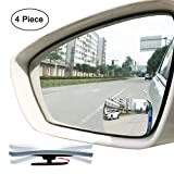 Slim Square 360 Degree Rotate + Sway Adjustabe Blind Spot Mirror, Ampper HD Glass Convex Wide Angle Rear View Car SUV Universal Fit Stick On Lens (Pack of 4)