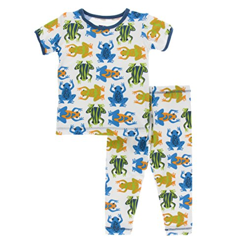 Kickee Pants Little Boys Print Short Sleeve Pajama Set, Amazon Frogs, 18-24 Months