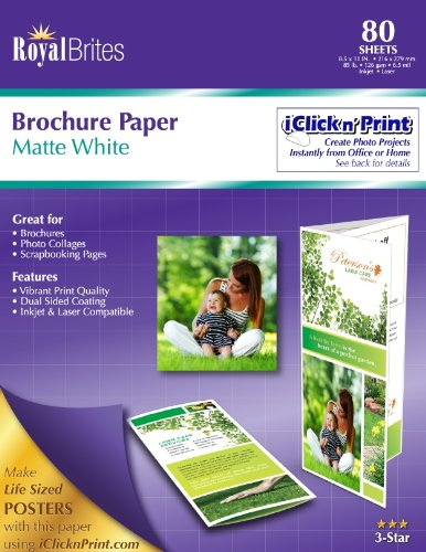 Royal Brites 2 Sided Brochure Paper, Matte Coated, 8.5 x 11 Inches, White, Pack of 80