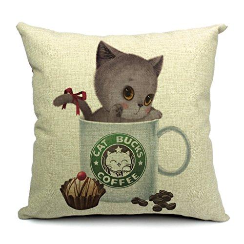 Bigood(TM) Cup Cat Square Decorative Throw Pillow Case Cotton Linen Cushion Cake