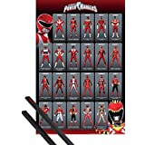 Poster + Hanger: Power Rangers Poster (36x24 inches) Classic, Red Ranger Evolution And 1 Set Of Black 1art1® Poster Hangers