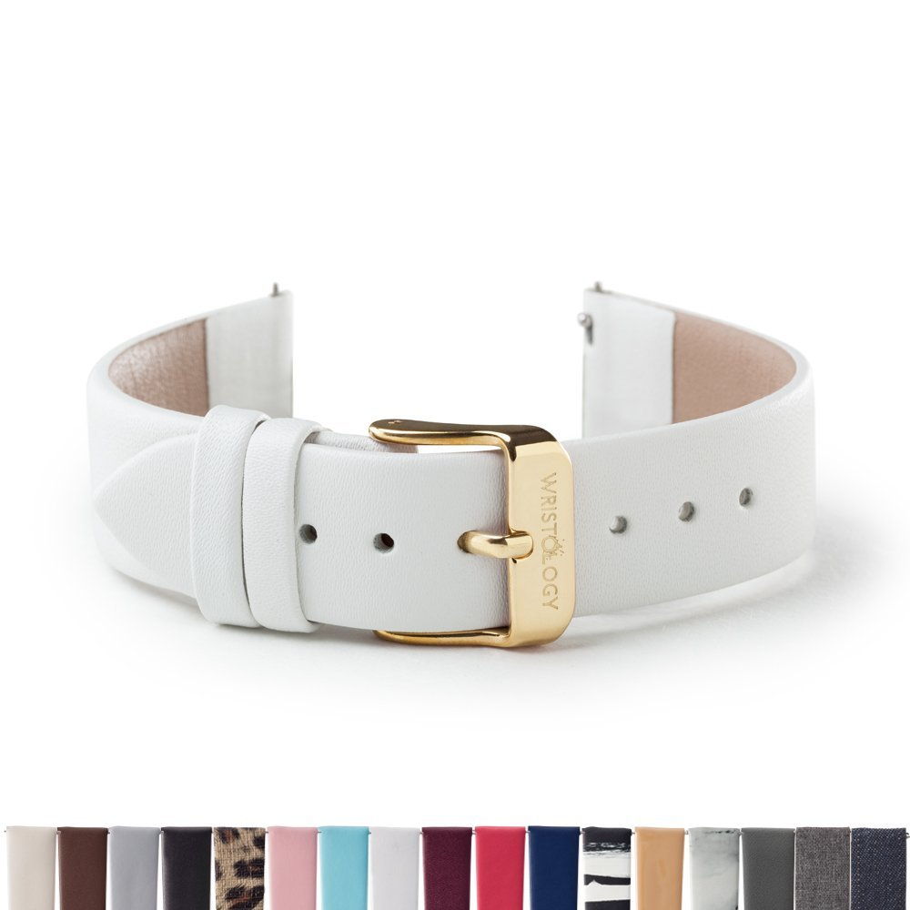 WRISTOLOGY Gold 18mm Womens Easy Interchangeable Watch Band (White)