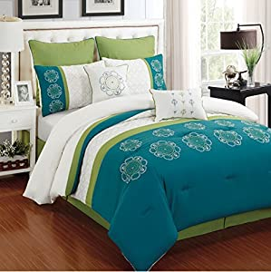 Kennedy 8 Piece Turquoise and Ivory Flower Embroidery Bed in a Bag Comforter Set (Queen)