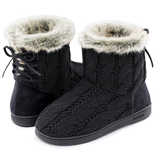 ULTRAIDEAS+Women%27s+Soft+Yarn+Cable+Knit+Bootie+Slippers+Memory+Foam+Indoor+%26+Outdoor+Shoes+w%2FAdjustable+Suede+Lace+%288+B%28M%29+US%2C+Black%29