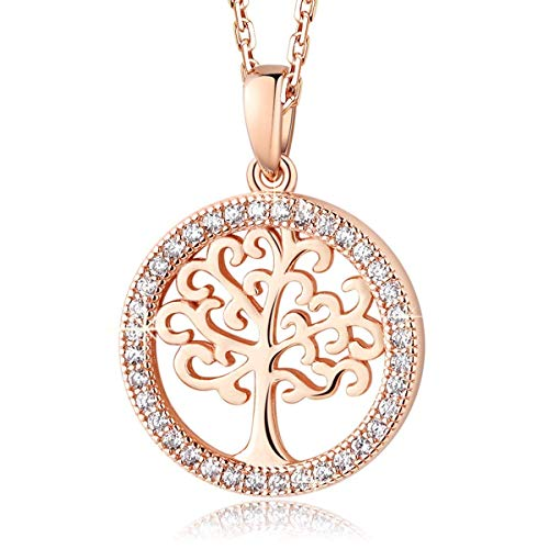 MEGA CREATIVE JEWELRY 925 Sterling Silver Family Tree of Life Rose Gold Crystal from Swarovski Pendant Necklace