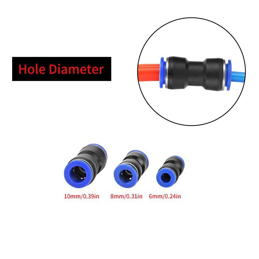 Conexiones de l/ínea de aire 30 piezas Conector de empuje recto de liberaci/ón r/ápida de pl/ástico para 1//4 5//16 3//8 tubo