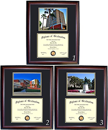 Cal State Los Angeles Diploma Frame - Photo Option #1 - Cherry Frame (Glass Bruins Art Ucla)