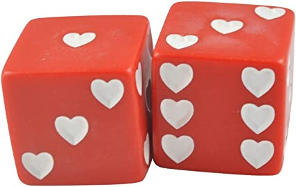 Pack of 2 Jumbo Red White Hearts Love Dice Opaque in Snow Organza Bag