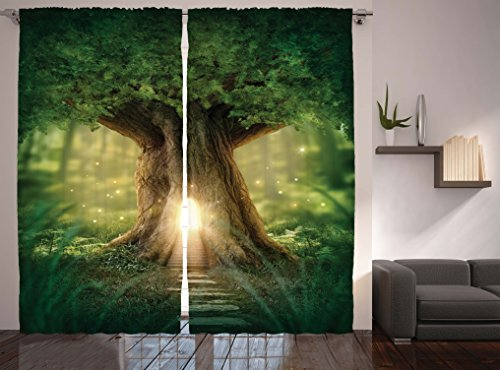 Bohemian Yoga Decor Curtains by Ambesonne, Fairy Tree of Life Light in Rainforest Woodsy Wildlife Scene, Window Drapes 2 Panel Set for Living Room Bedroom , 108 X 84 Inches, Brown Green and Yellow