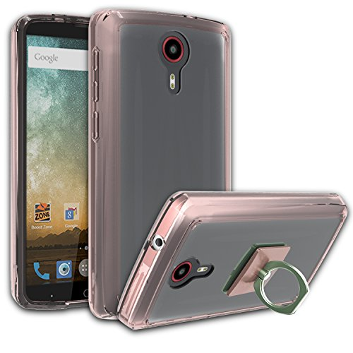 ZTE N817/Uhura/Ultra/Quest Clear Case With HD Screen Protector + Phone Stand,Ymhxcy [Air Hybrid] Ultra Slim Shockproof Bumper Cover For ZTE N817 CB2-Rose Gold