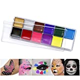 12 Colors Face Paint Body Painting Kit Safe&Non-Toxic Easy To Apply And Remove Halloween Party Prank Carnival Cheerleading Team Professional Makeup