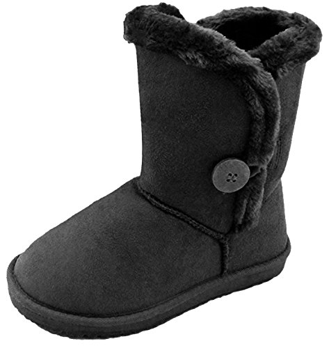 Button Boots (4 M US Big Kid, 03-Black)