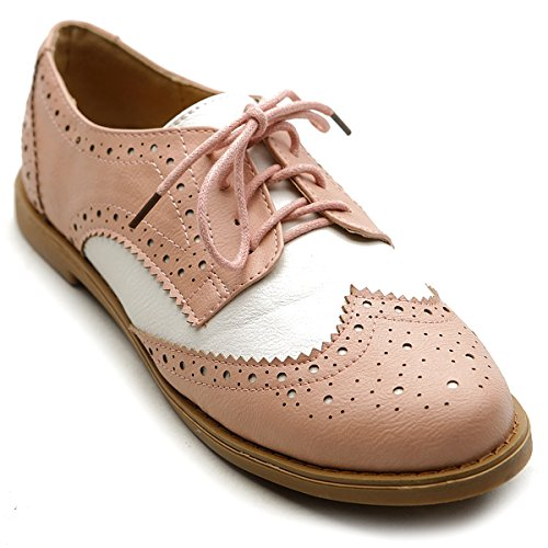 Ollio Women's Flat Shoe Wingtip Lace Up Two Tone Oxford M2913(6 B(M) US, Pink) ()