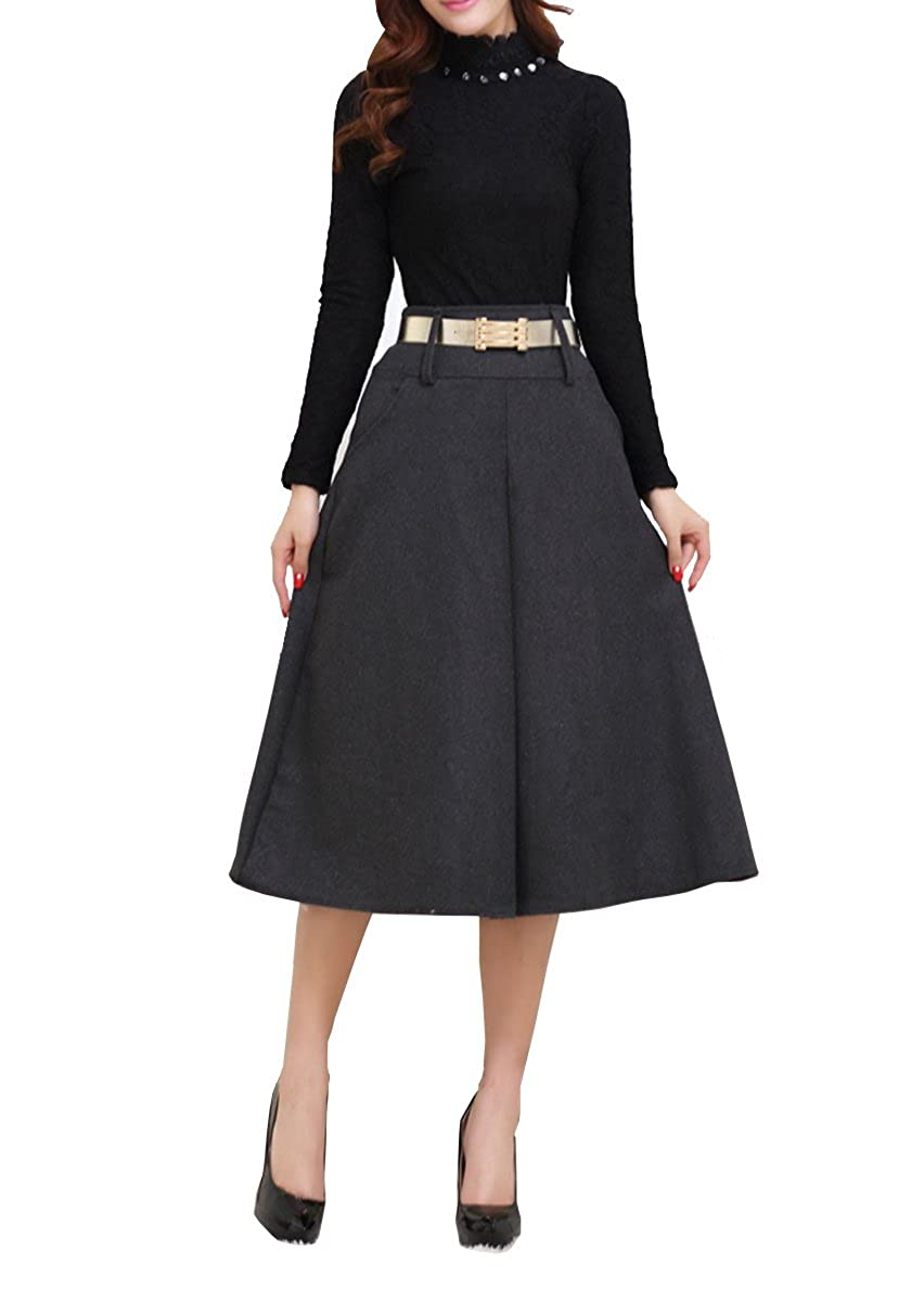 Victorian Skirts | Bustle, Walking, Edwardian Skirts Tribear Womens Vintage High Waist Wool A-line Pleated Midi Skirts $19.99 AT vintagedancer.com