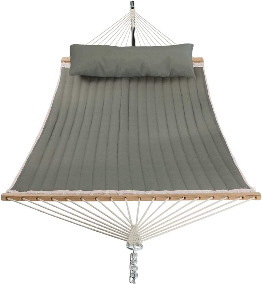 Patio Watcher 11 Feet Quilted Fabric Hammock with Curved-Bar Bamboo and Detachable Pillow Double Hammock Perfect for Patio Yard Patio Yard Dark Green