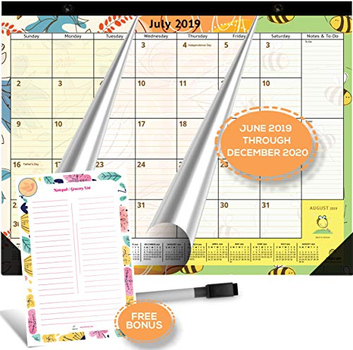 Large Magnetic Calendar 2019-2020 for Fridge by StriveZen, 16x12 inches, Big Monthly Pages Jun 2019- Dec 2020, Bonus Dry Erase Notepad/Grocery List and Dry Erase Marker