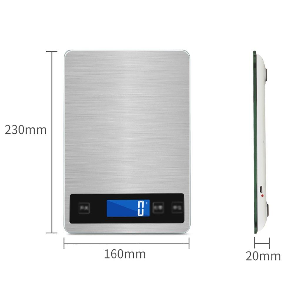 Balanzas de Cocina Recargables a Prueba de Agua Balanzas electrónicas para Hornear en el hogar Gramos precisos de Alimentos, Tres tamaños están Disponibles.