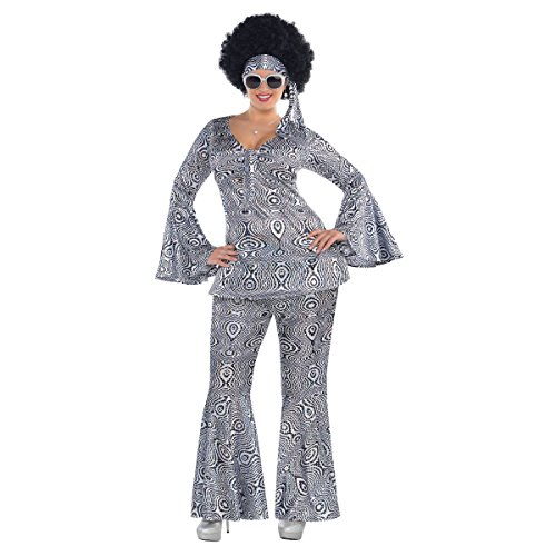 Suit Yourself Dancing Queen Disco Costume for Adults, Plus Size, Includes a Matching Top, Flare Pants, and a Headscarf -