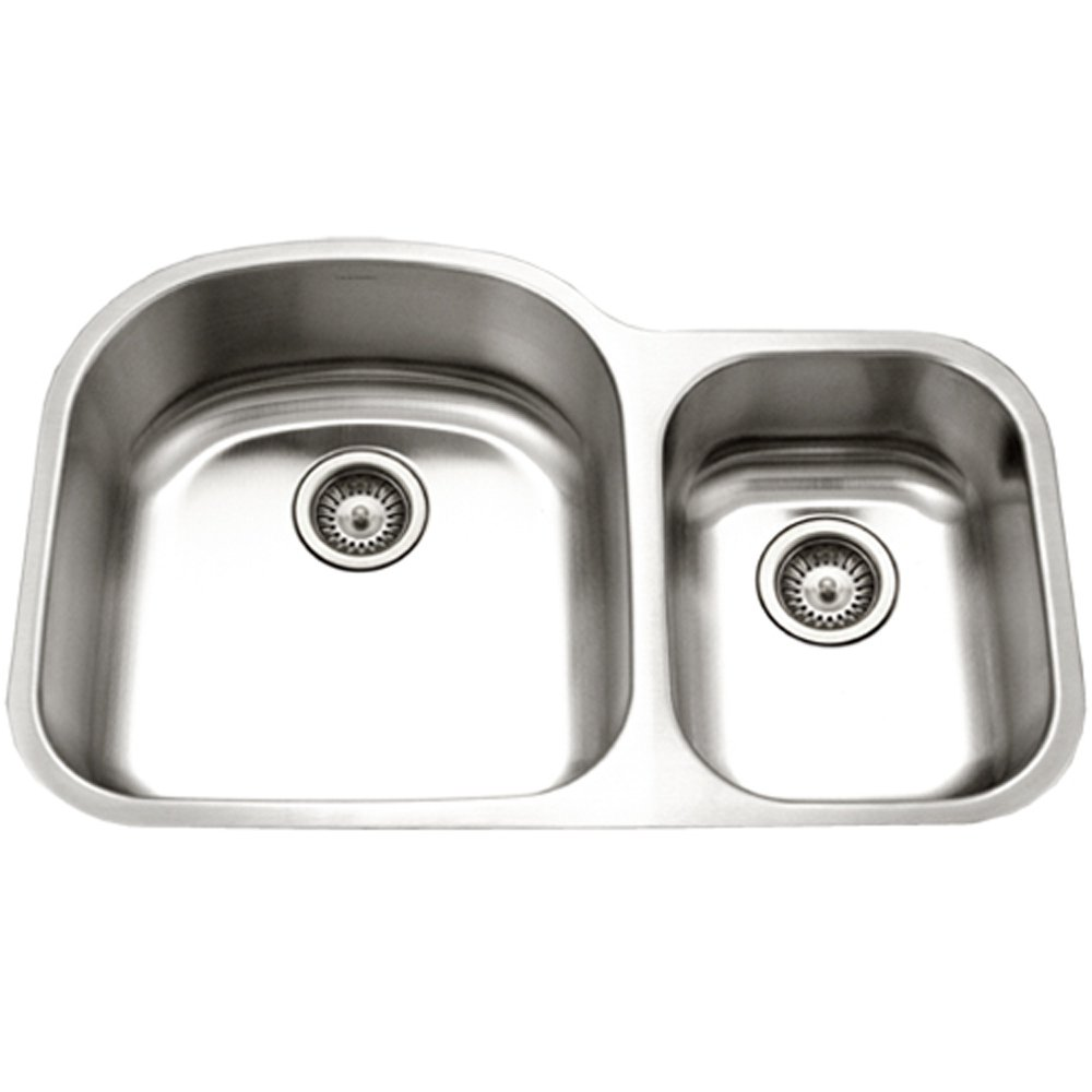 Medium image of houzer stc 2200sr 1 eston series undermount stainless steel 70 30 double bowl kitchen sink small bowl right 18 gauge     amazon com