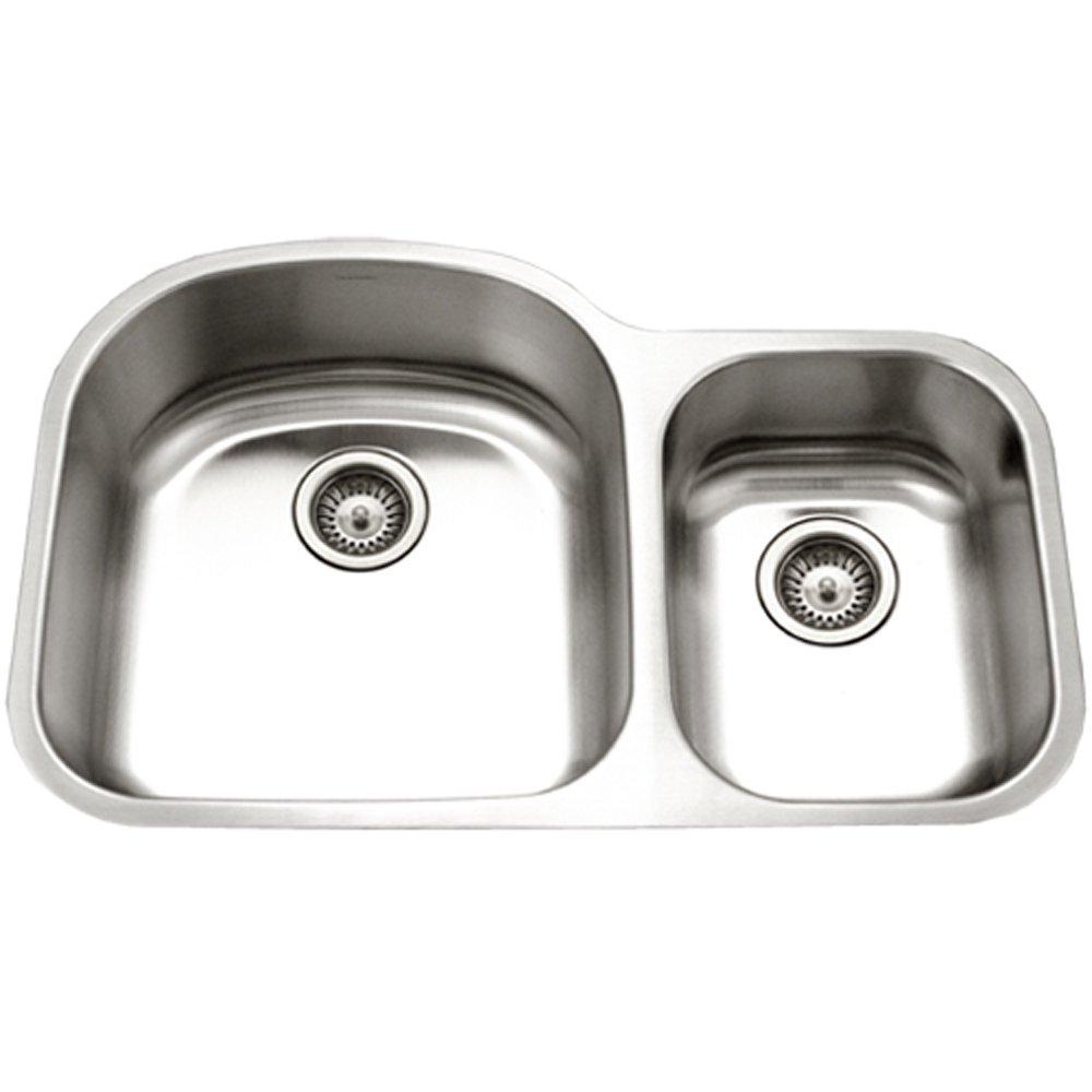 Houzer STC-2200SR-1 Eston Series  Undermount Stainless Steel 70/30 Double Bowl Kitchen Sink, Small Bowl Right, 18 Gauge